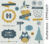 christmas icons  elements and... | Shutterstock .eps vector #159901619