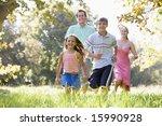 family running outdoors smiling | Shutterstock . vector #15990928