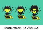 set of three djs with turntables | Shutterstock .eps vector #159921665