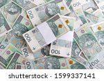 Pile of Polish money 100 zloty (PLN). Polish zloty background. - stock photo