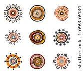 aboriginal art dots painting... | Shutterstock .eps vector #1599359434