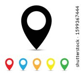 solid location vector icons... | Shutterstock .eps vector #1599367444