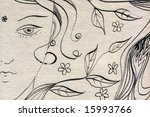 hand drawn girl portrait with... | Shutterstock . vector #15993766