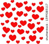 red hearts on white background  ... | Shutterstock . vector #1599385117