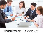 group of happy business people... | Shutterstock . vector #159945071