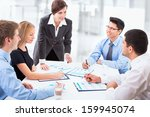 group of happy business people... | Shutterstock . vector #159945074