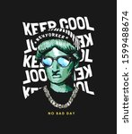 keep cool slogan with liberty... | Shutterstock .eps vector #1599488674