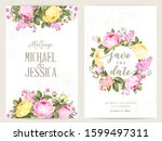 save the date card with text... | Shutterstock .eps vector #1599497311