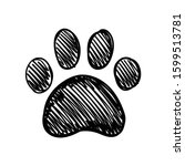 dog paw doodle  hand drawn... | Shutterstock .eps vector #1599513781