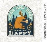 deer and beer make me happy.... | Shutterstock .eps vector #1599517744