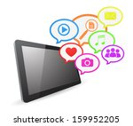 tablet computer social media... | Shutterstock .eps vector #159952205