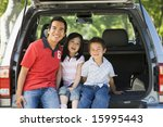 man with two children sitting... | Shutterstock . vector #15995443