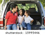 man with two children sitting... | Shutterstock . vector #15995446