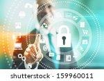 internet security concept man... | Shutterstock . vector #159960011