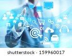 online solutions concept man...   Shutterstock . vector #159960017