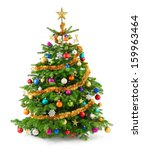 Stock photo joyful studio shot of a christmas tree with colorful ornaments isolated on white 159963464