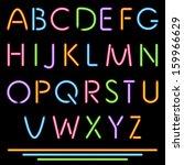 realistic neon tube letters.... | Shutterstock .eps vector #159966629