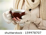 Female Hands With Hot Drink  On ...