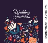 wedding card or invitation with ... | Shutterstock .eps vector #159981791
