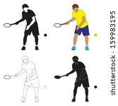 four silhouettes of tennis... | Shutterstock .eps vector #159983195