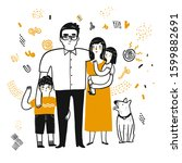 the drawing character of family.... | Shutterstock .eps vector #1599882691