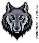 wolf head mascot - stock vector