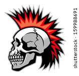 skull with mohawk hairstyle | Shutterstock .eps vector #159988691