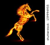 Raster version. Fire horse rearing up. Illustration on black background. - stock photo