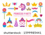 collection of photo booth props ... | Shutterstock .eps vector #1599985441