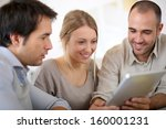 business team in office working ... | Shutterstock . vector #160001231