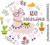 funny lama vector illustration... | Shutterstock .eps vector #1600060651