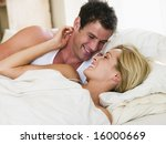 man and women awake in bed... | Shutterstock . vector #16000669