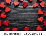Red Hearts Frame On Dark Wooden ...