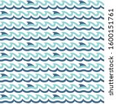 shark fins  curly waves... | Shutterstock .eps vector #1600151761