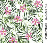flowers with palm leaves grunge ... | Shutterstock .eps vector #1600231711