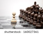 one pawn staying against full... | Shutterstock . vector #160027361