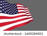 waving american flag on... | Shutterstock .eps vector #1600284001