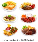 plates of various meat and... | Shutterstock . vector #160036967