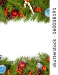 christmas background with balls ... | Shutterstock . vector #160038191