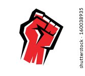 fist stylized vector icon, revolution concept