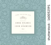 vintage wedding card vector.... | Shutterstock .eps vector #160052591