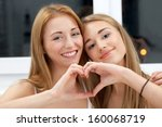 two best friends showing their... | Shutterstock . vector #160068719