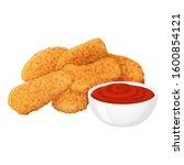 set of tasty chicken nuggets... | Shutterstock .eps vector #1600854121