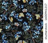 watercolor woodland blue... | Shutterstock . vector #1600941217