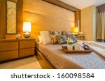 Stock photo beautiful and modern home and hotel bedroom interior design 160098584