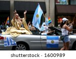 Argentinian queen on pride parade on fifth avenue of borough of Manhattan of city of New York - stock photo