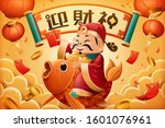 god of wealth rides on lucky... | Shutterstock .eps vector #1601076961