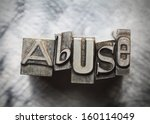 Small photo of Abuse word letters with vintage grunge type