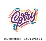 sorry. hand lettering word.... | Shutterstock .eps vector #1601196631