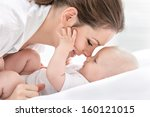 portrait of happy mother and... | Shutterstock . vector #160121015